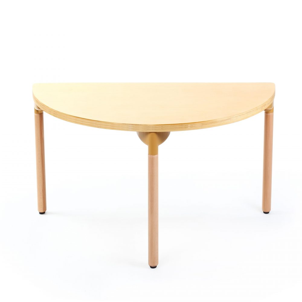 Singapore wooden half round table