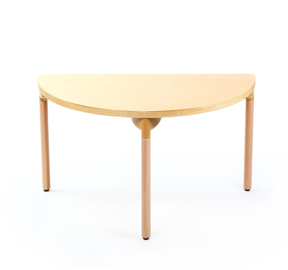 Singapore wooden half round table